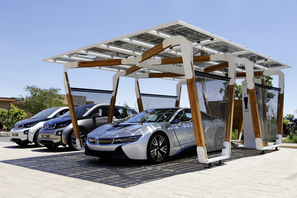 Electric Car Charging Garage Art